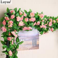 Leegoal Artificial Rose Silk Flower Green Leaf Vine Garland Home Artificial Flower Decoration For Home