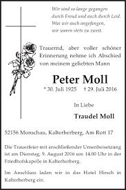 Peter Moll : Traueranzeige, Wochenspiegel