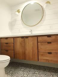 Captivating Powder Room, Bathroom Idea, Floating Vanity, Floating Wood Vanity, West Elm  Mirror, Shiplap Bathroom, Modern Bathroom, Minimal Bathroom, Cement Tile ...