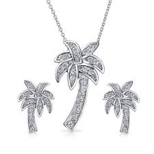 classic nautical palm tree tropical necklace pendant earring set pave cubic zirconia cz for women sterling silver