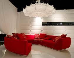 red sofa in living room design