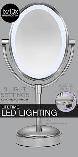 conair oval shaped led double sided lighted makeup mirror 1x 10 magnification ac plug touch 3 levels polished nickel walmart