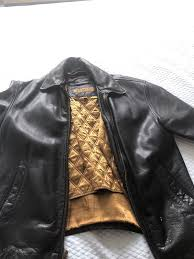 marc new york black leather jacket with gold liner zipper