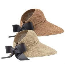 Ladies Designer Sun Visors Womens Summer Straw Hat Sun Visors Wide Brimmed Summer Sun Hats Lightweight Topless Beach Hat Foldable Wide Brim 55 60cm Beach Sun Hat Uv Protection