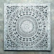 nice looking wood carved wall art decoration white decor pier 1 elegant circle hand panel carving