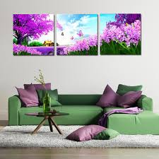 new arrival modular 3 panel modern paintings beautiful landscape canvas prints pastoral purple flower tree butterfly on purple and green canvas wall art with new arrival modular 3 panel modern paintings beautiful landscape