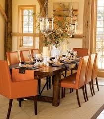 orange dining room decor homes house diningroom orange decor distressed wood furniture