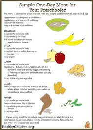 1 Year Old Baby Food Chart Sample Menu For A Preschooler Healthychildren Org