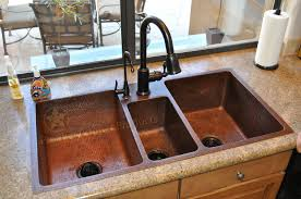 42 Hammered Copper Kitchen Triple Basin Sink Fixture House Direct