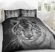white tiger animal 3d duvet quilt cover polyester printed bedding set 35 in stock