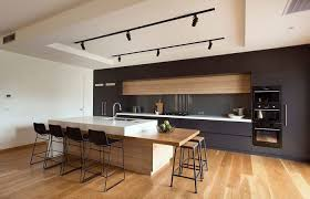 Melbourne Modern Design Lounge Kitchen With Timber Island Bench Simple Modern Kitchen Designs Melbourne