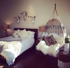 wicker hanging chair for rustic bedroom decorating ideas with fur slipcover and black wooden floor
