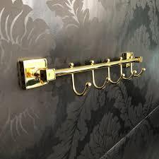 5 hooks multi towel holder brass wall