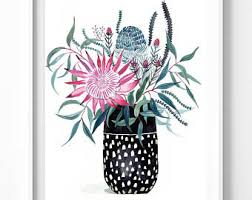 australia wall art print large watercolour print botanical king protea floral banksia gum leaves in indigo ceramic vase limited edition on floral wall art australia with original paintings fine art prints by sally browne by floriosa