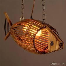 light bamboo wood light originality fish pendant lamp retro rural restaurant cafe bar hanging personality