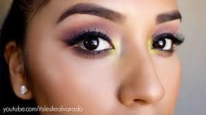 dewy summer makeup tutorial e by mac 3 pop of color purple lips