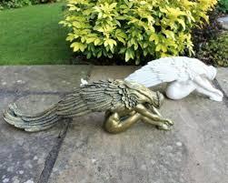 fairy angel garden ornament statue outside decorative patio pond 2 size colours