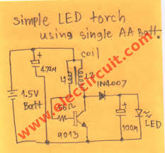 led torch wiring diagram led image wiring diagram 1 5v led flashlight circuit eleccircuit com on led torch wiring diagram