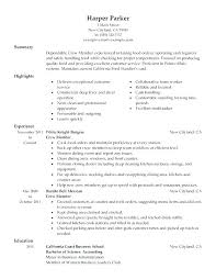 fast food cook resumes examples of resumes for restaurant jobs resume samples restaurant