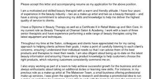 Skin Therapist Cover Letter Sarahepps Com