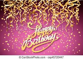 Vector Pink Party Background Happy Birthday Celebration Design Vector Gold Confetti Elements Greeting Card Template Purple Colors