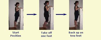 this is an important strength without weights exercise stretching and building up the achilles and calf muscles stand on tip toes near edge of a