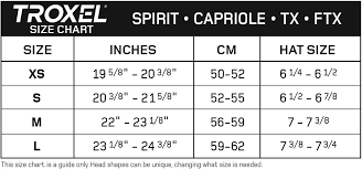 Troxel Spirit Performance Helmet Size Chart Spirit Performance Helmet