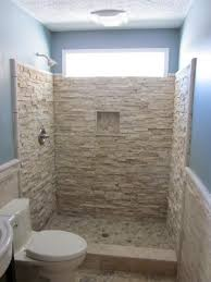 Handsome Picture Of Small Bathroom With Shower Stall Decoration Using Light  Blue Bathroom Wall Paint Including Cream Stone Veneer Shower Wall And  Doorless ...