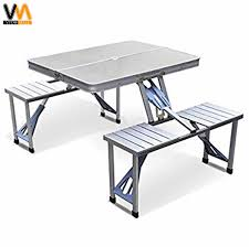Foldable picnic tables outdoor tables set with 4 stools
