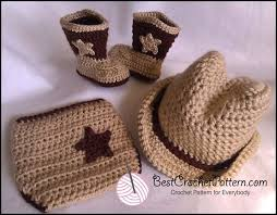 Crochet Baby Cowboy Hat And Boots Pattern Free