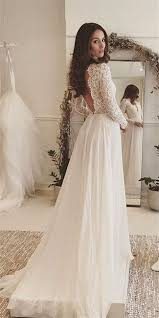 Vintage Full Lace Long Sleeve Wedding Dresses 2017 V Neck Country Vintage Country Style Wedding Dresses