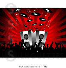 music speakers clipart. silhouette clipart of a black silhouetted audience waving their arms in front speakers on stage music