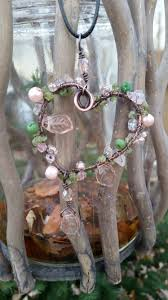 wire wrapped with love pendant pink green heart