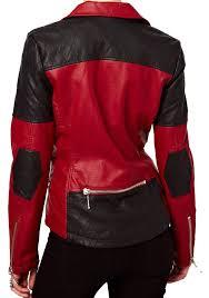 cross stiched contrast women s biker leather jacket