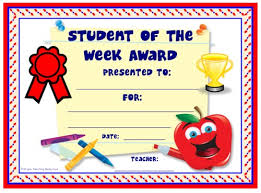 Student Of The Week Certificate Template Free Achievement Award