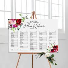 Etsy Wedding Seating Chart Alphabetical Alphabetical Wedding Seating Chart Gold With Flowers Printable Personalized Alphabetical Wedding Seating Plan Digital