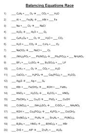 balancing chemical equations worksheet word equations answers