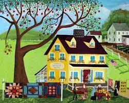COUNTRY QUILT MUSTARD HOUSE SHEEP FOLK ART PRINT ... & COUNTRY QUILT HOUSE APPLE TREE FOLK ART PRINT Adamdwight.com