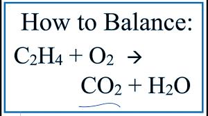how to balance c2h4 o2 co2 h2o ethene combustion reaction