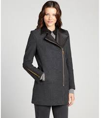kai aakmann charcoal wool blend asymmetrical wool coat with leather collar