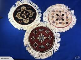 group of three small beautiful round hand knotted rug mat lot 504h trade me