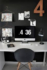 black wall retro small home office ideas