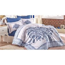 100 cotton blue white fl design full double 6 pieces bedding duvet cover romantic set