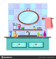 cartoon bathroom sink and mirror.  And Vector Cartoon Bathroom Interior Mirror Sink Towel Lots Cute Multicolored U2014  Stock For And I