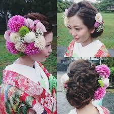 かほさん前撮り和装ヘア たくさんの生花で片面うめつくしてとっても 花嫁