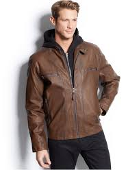 lyst calvin klein hooded faux leather moto jacket in brown for men