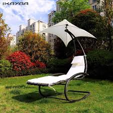ikayaa rocking outdoor patio chaise lounge chair canopy garden porch pool chaise rocker garden furniture us