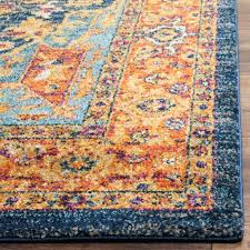 orange and blue area rug green gray