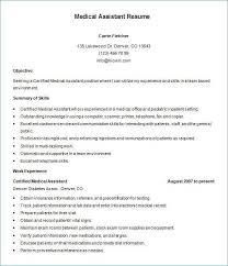 Certified Medical Assistant Resume Fascinating Medical Assistant Resume Objective Lovely Certified Medical