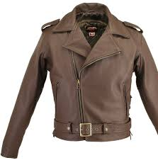 men s full belted brown leather biker jacket tap to expand